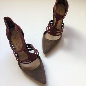 Jessica Simpson Grey and Burgundy Pumps
